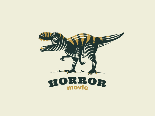 T-rex with tiger skin retro emblem by Roma Korolev