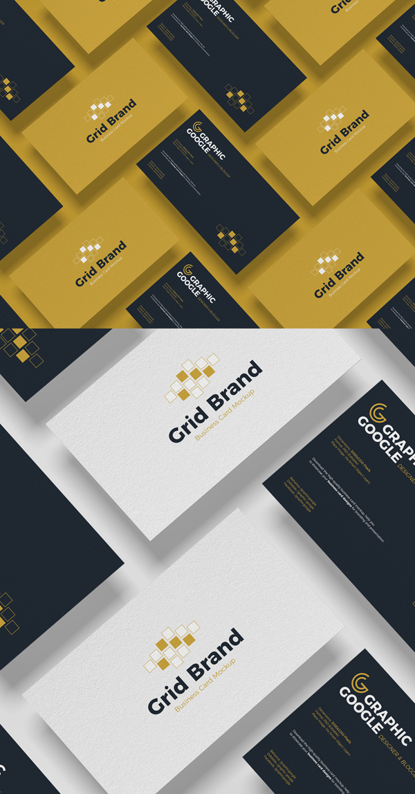 Free Grid Brand Business Card Mockup PSD