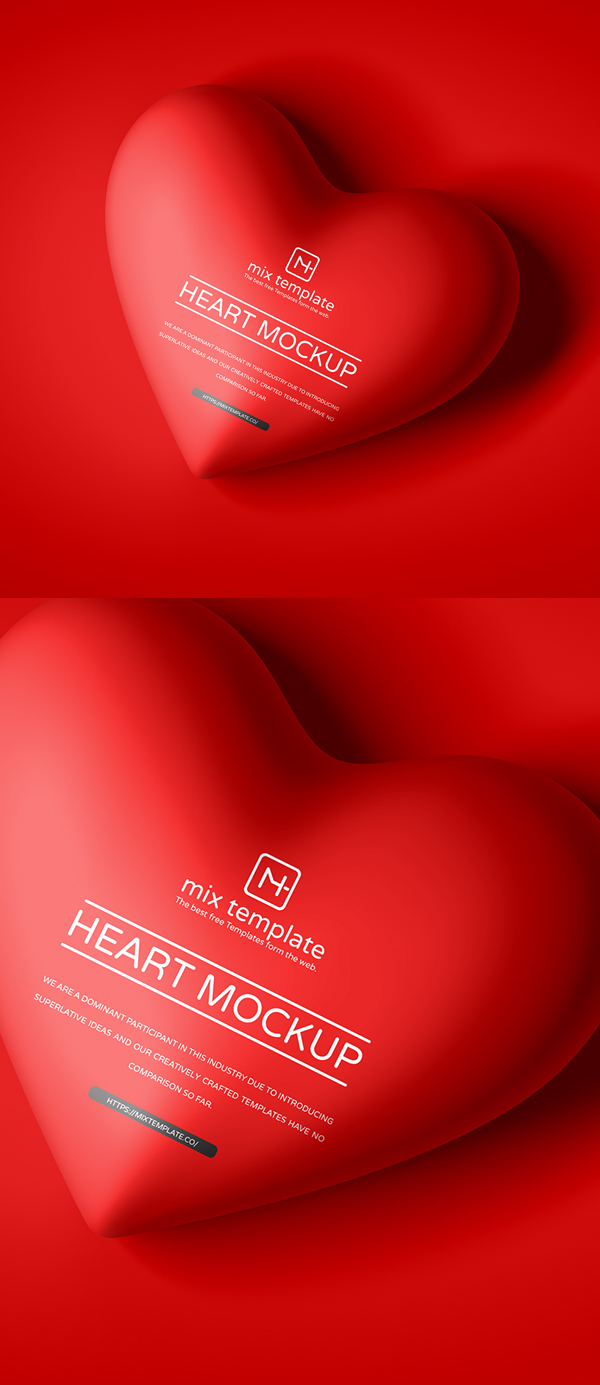 Free Top View Heart Mockup PSD
