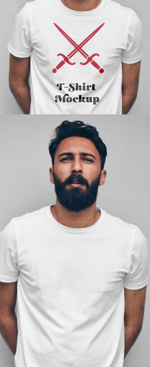 Free Man with T-Shirt Mockup PSD