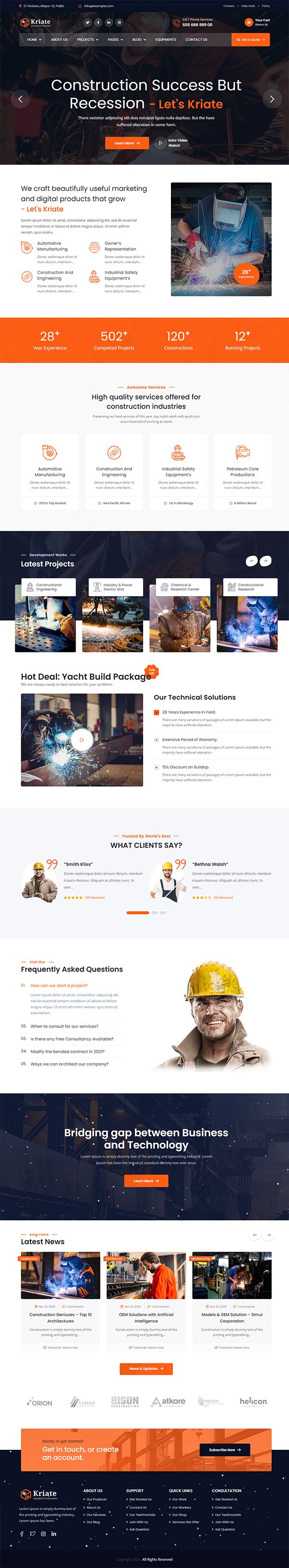 Kriate - Industrial Construction WordPress Theme