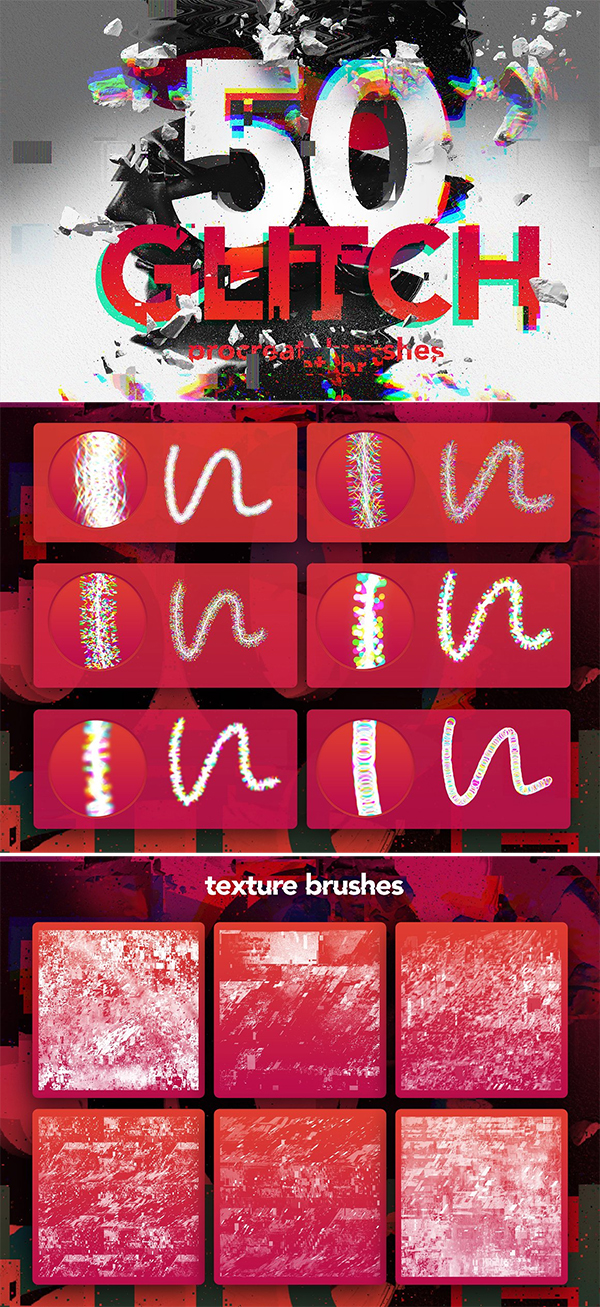 50 Procreate Glitch Brushes