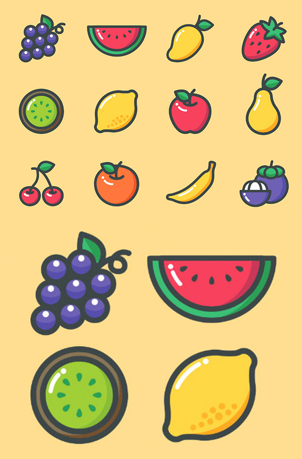 Colored Fruit Icons - 12 Icons