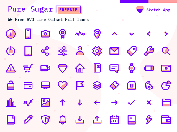 Free SVG Icons Pack - Sketch Vector Icon - 60 Icons