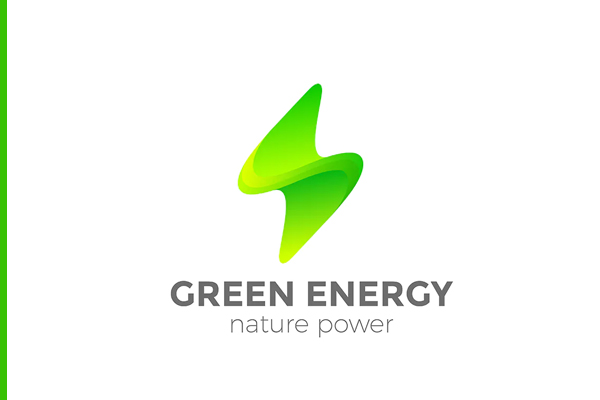 Logo Green Energy Flash Lighting Bolt 3D style