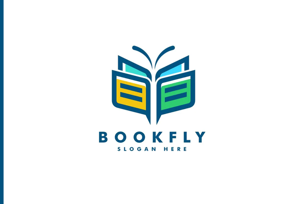 Book and Butterfly Line Art Style Logo Template