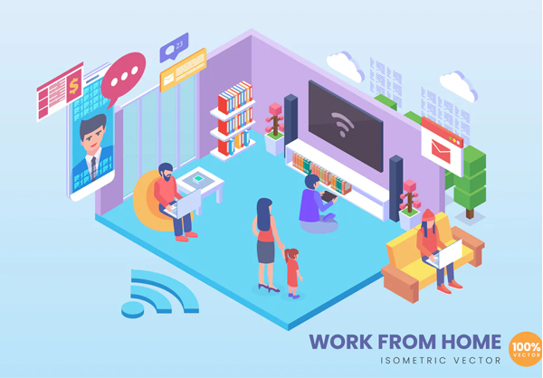 Isometric Work From Home Concept