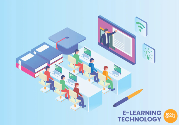 E-Learning Technology Vector Concept