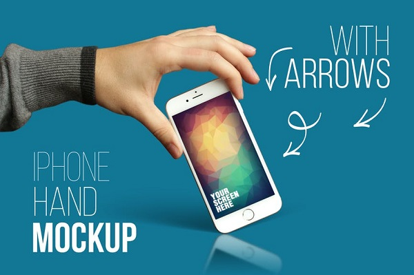 iPhone Hand Mockup With Arrows Font