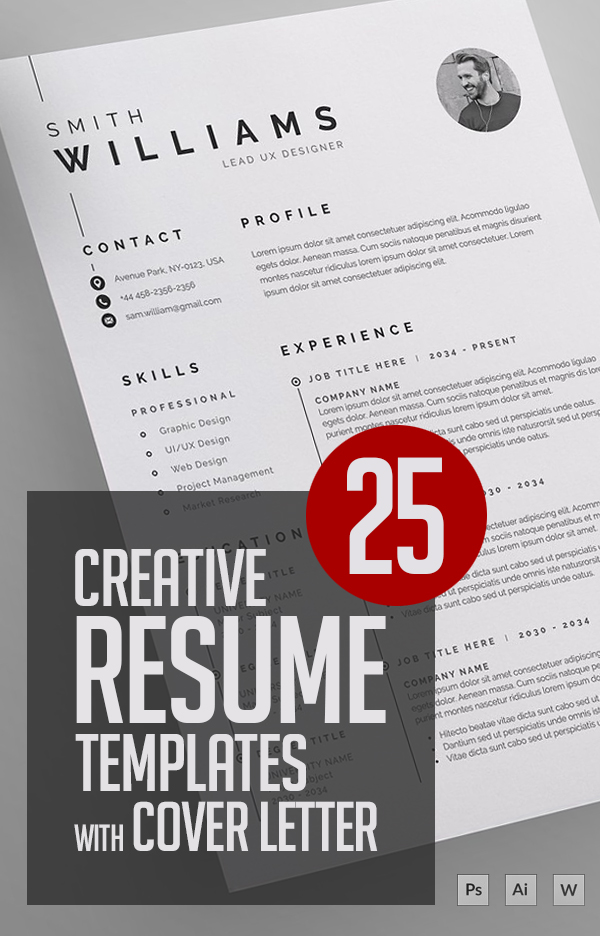 25 Creative Clean CV / Resume Templates with Cover Letters