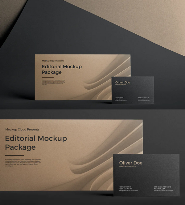 Business Card and Envelope PSD Mockup