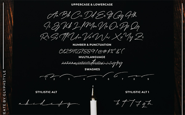 Creattion Signature Font Letters and Numbers
