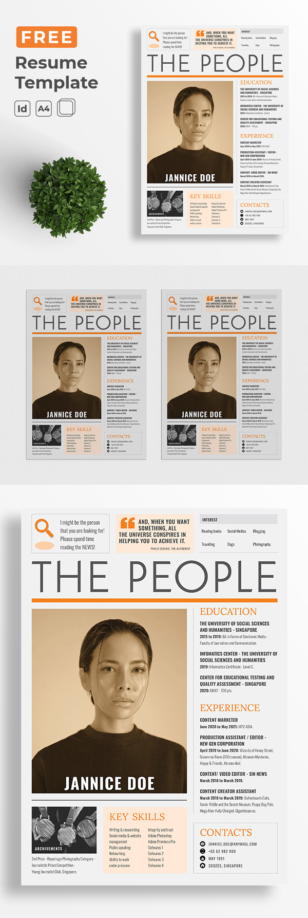 Free Resume Template Newspaper Cover