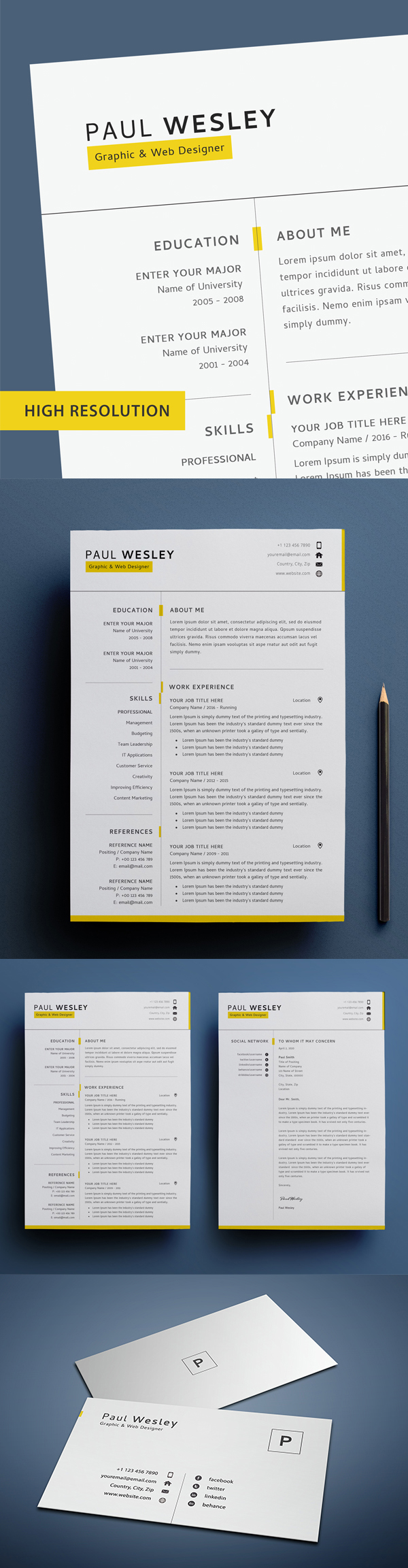 Professional Resume Template 2 Page PSD