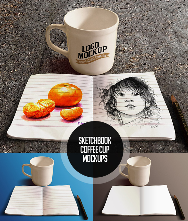 Sketchbook And Coffee Cup Mockup Free Font