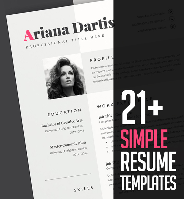 21+ Simple Clean Resume Templates and Cover Letter Designs