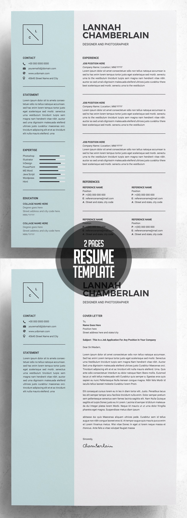 Clean Resume Template (2 Pages)