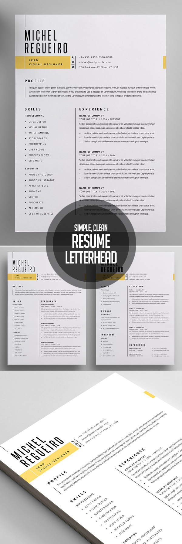 Clean Resume and Letterhead Design
