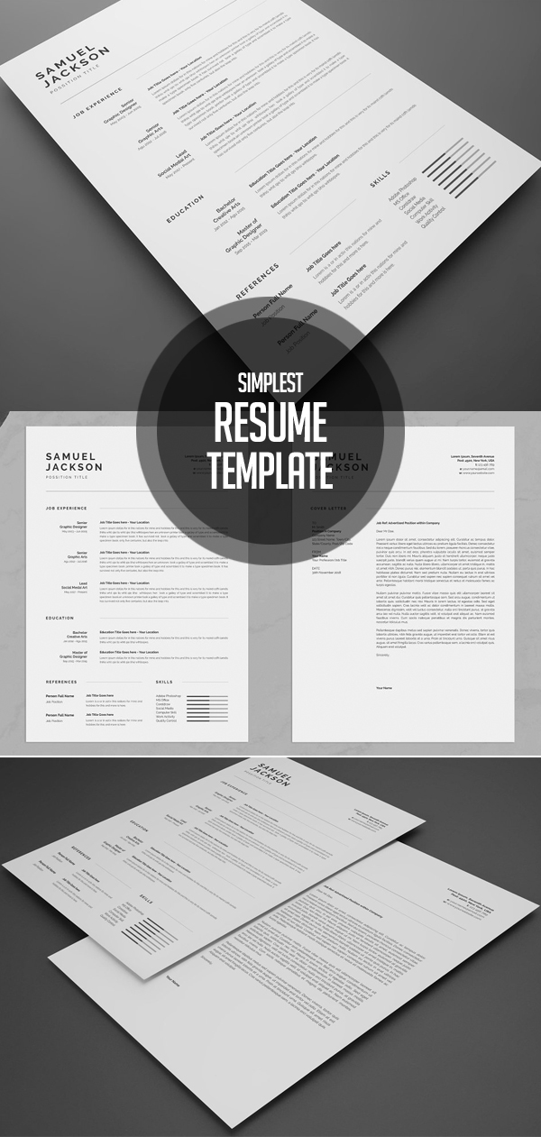 Simplest Resume Template and Cover Design