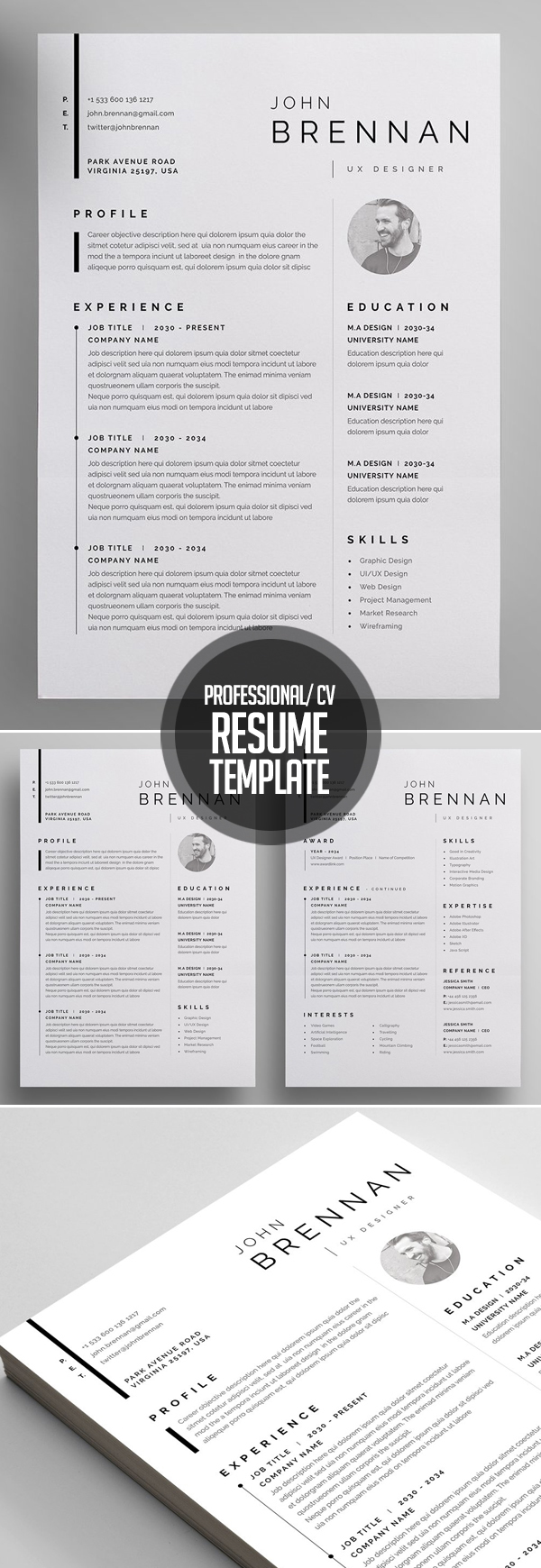 Clean, Professional Resume and Letterhead Template