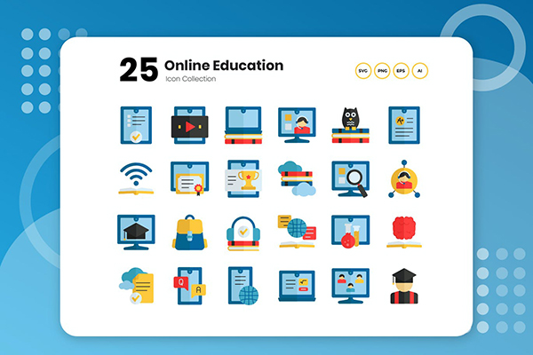 25 Online Education Flat Icon