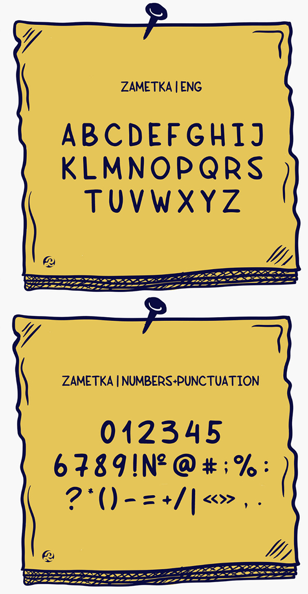 Zametka Font Letters and Numbers