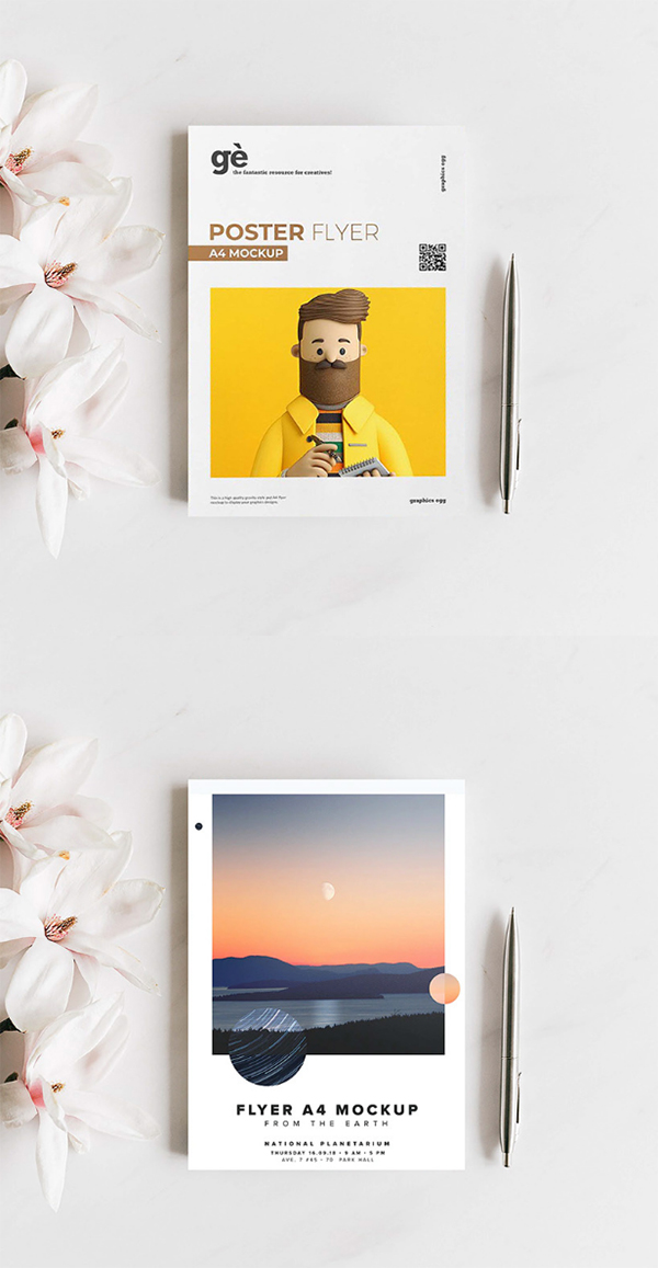 Free A4 Flyer/Poster Mockup (PSD) Template