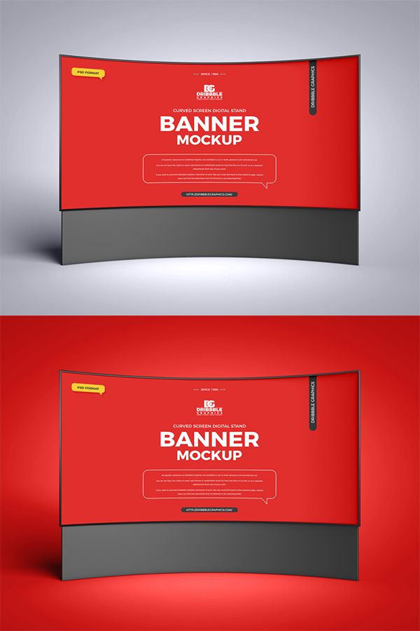 Free Curved Screen Banner Mockup