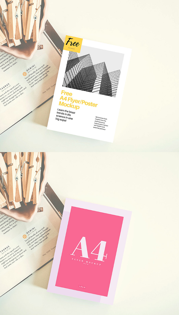 A4 Flyer Poster Mockup (PSD) Template Free Download