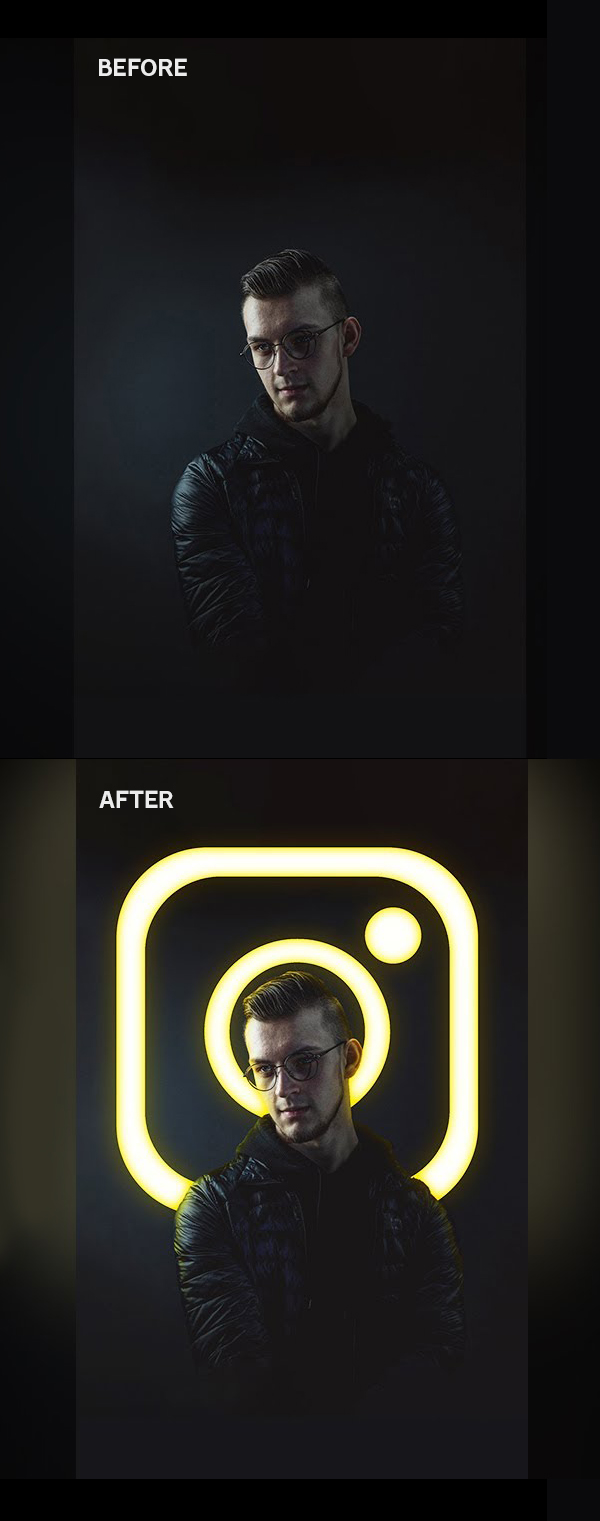 How to Make Glowing Instagram Logo Effect, Photo Effect in Photoshop Tutorial