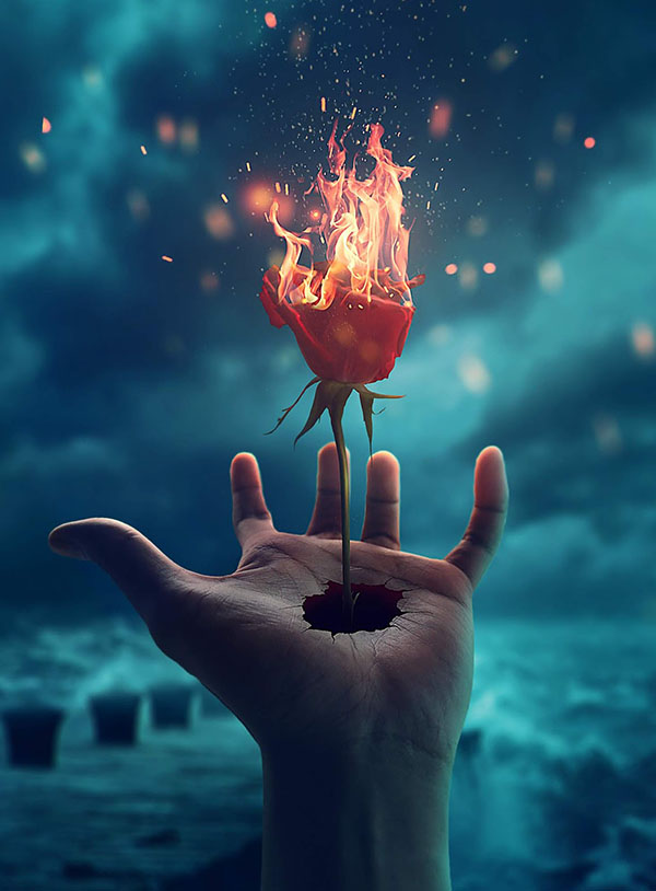 How to Make Simple Photo Manipulation Ideas Burning Rose in Photoshop Tutorial