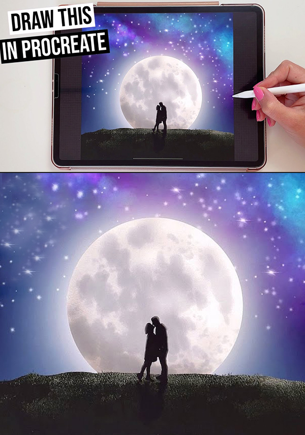 How to Draw Moon Scene with Procreate on iPad | Step by step drawing tutorial for beginners