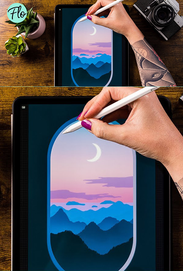 How to Draw Beautiful Sunset Landscape in Procreate Tutorial