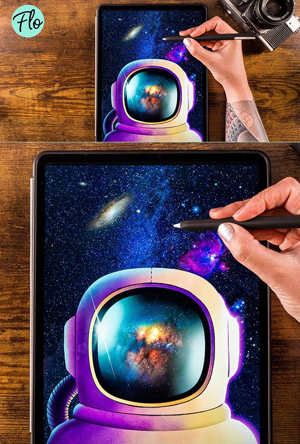 How to Draw Astronaut In Space in Procreate Digital Drawing Tutorial