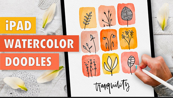 How to Draw iPad Watercolor Doodles in Procreate Tutorial