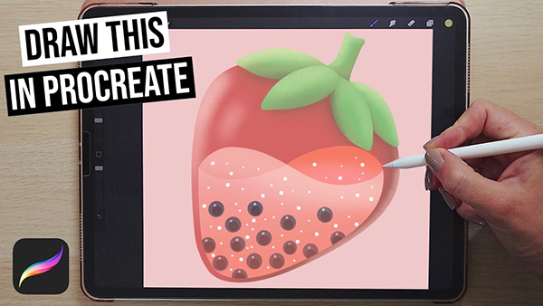 Draw Strawberry Bubble Tea Illustration in Procreate Tutorial For Beginners