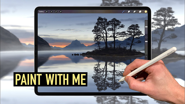How to Draw Digital Painting (Tree Island Lake landscape art) in Procreate Tutorial