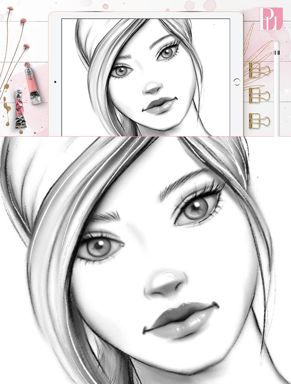 How to draw a female face step by step in Procreate Tutorial
