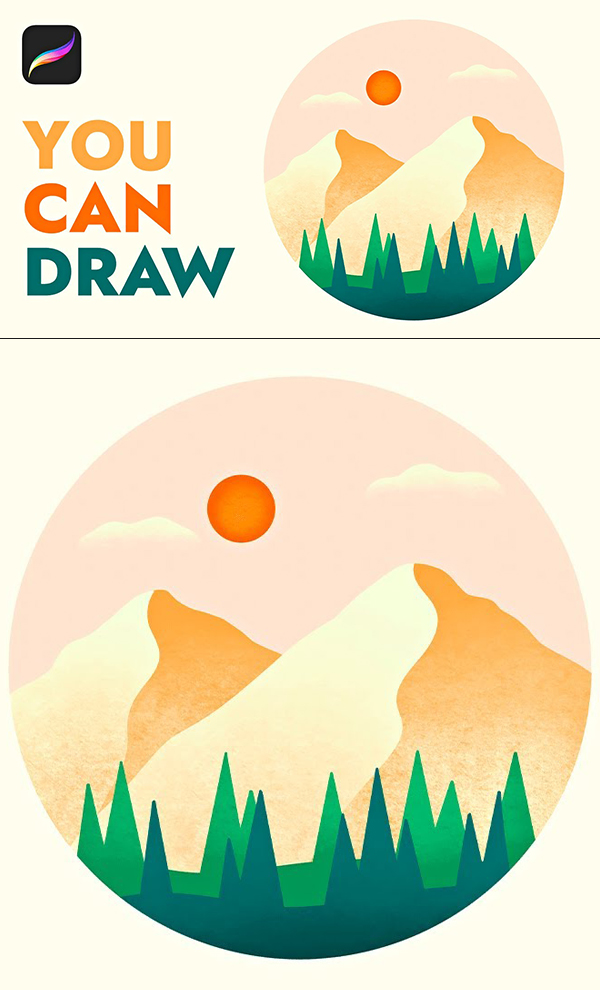 How to Draw Minimal Landscape Illustration in Procreate Tutorial