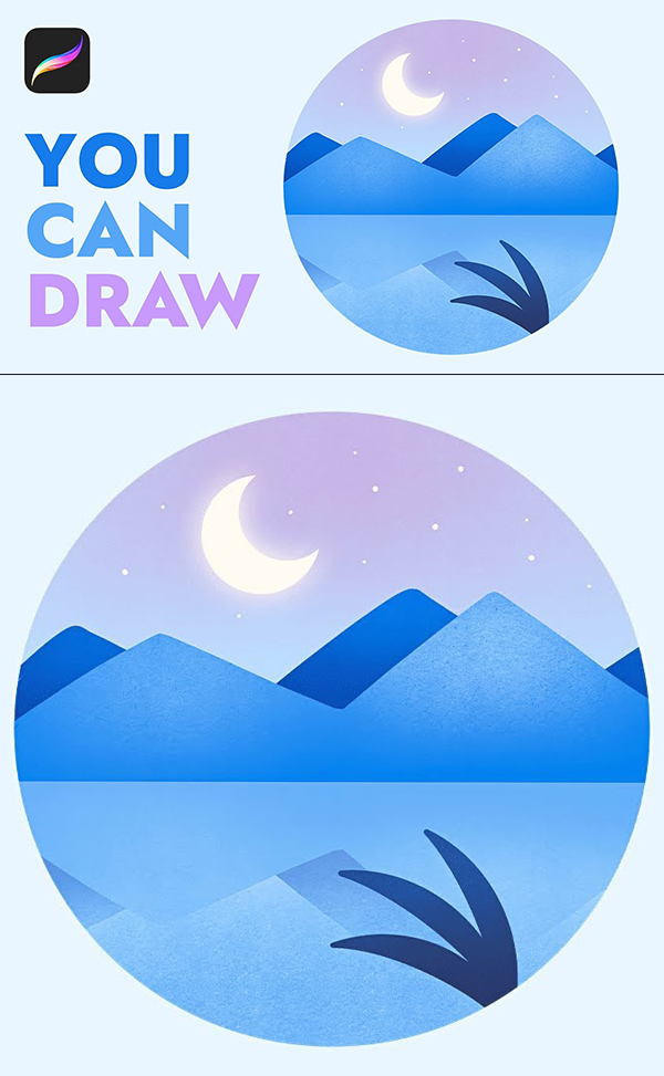 Learn How to Draw Minimal Landscape in Step by Step Procreate Tutorial