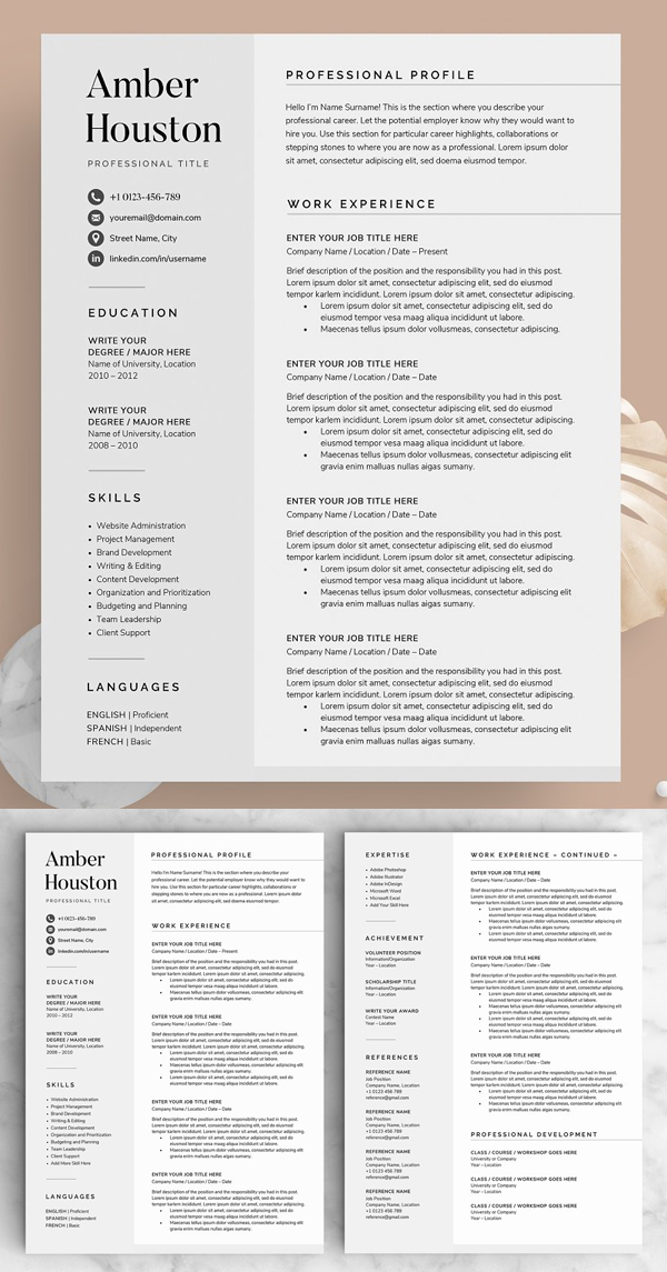 The Amber Resaume CV Template