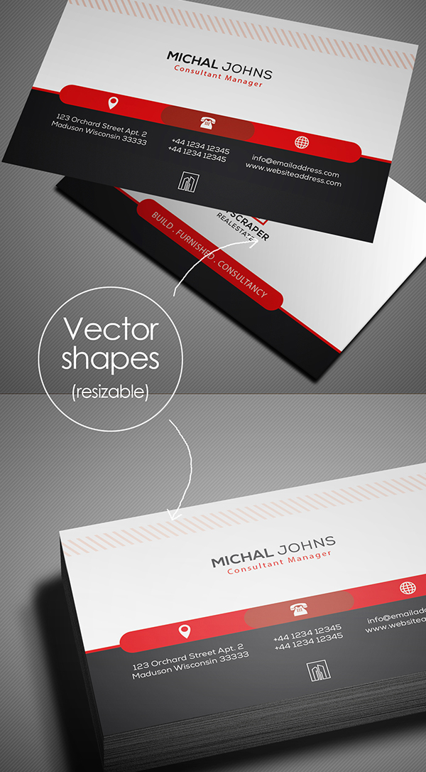 Free Real Estate Business Card PSD Vector Format