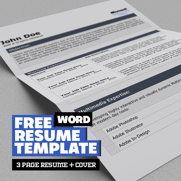Free Word Resume Template with Cover Letter