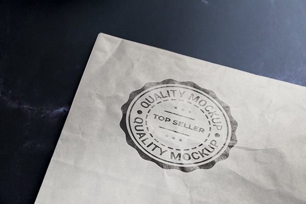 Logo Mockup with Stamp Effect on White Kraft Paper
