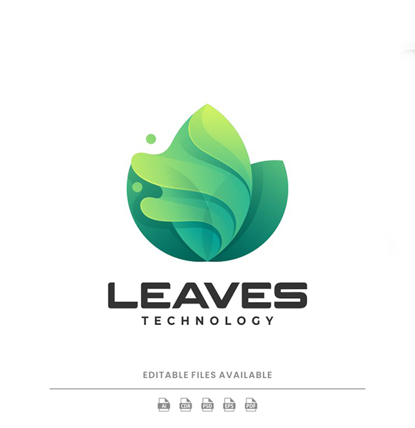 Leaves Gradient Colorful Logo