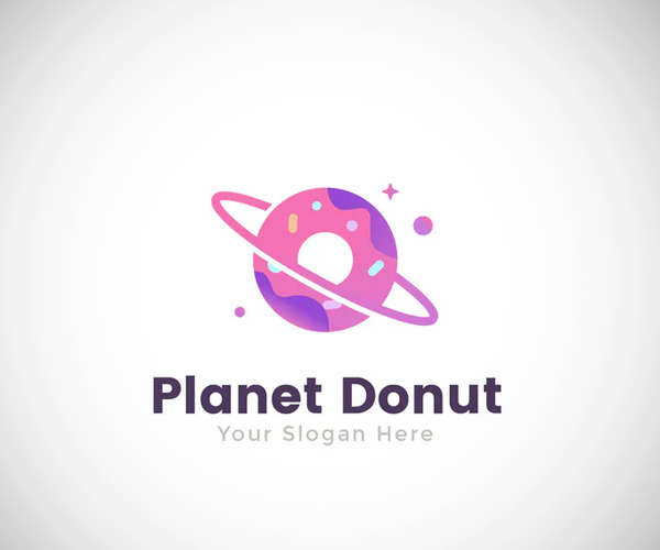 Planet Donut Food Logo Template