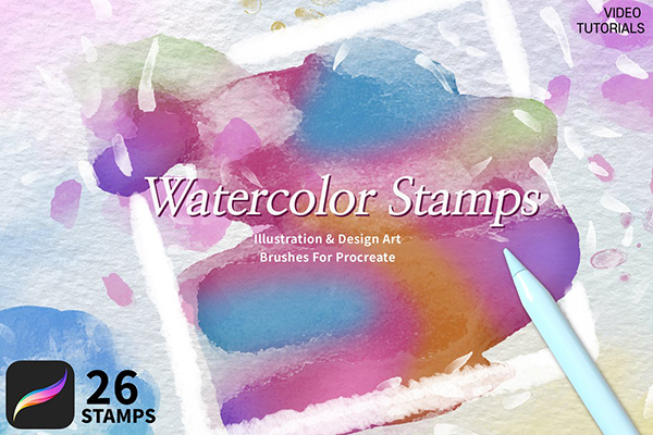 26 Watercolor Stamps For Procreate