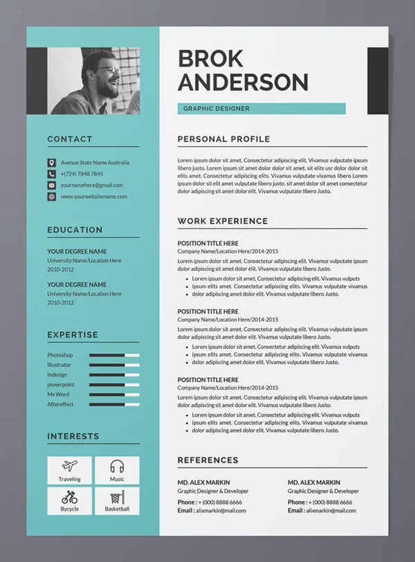 Modern and Clean Resume / CV Template