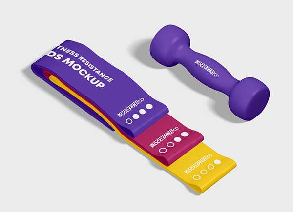 Free Fitness Resistance Bands Mockup in PSD