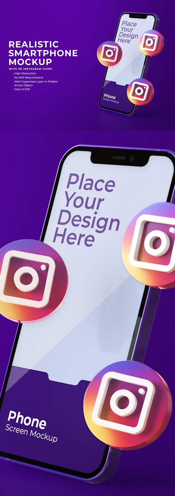 Free 3D Instagram Icons with Mobile Sceen Mockup